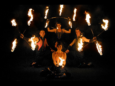 Fire and Stilt Performers